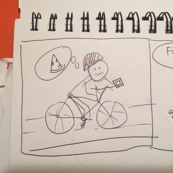 biker wants pizza