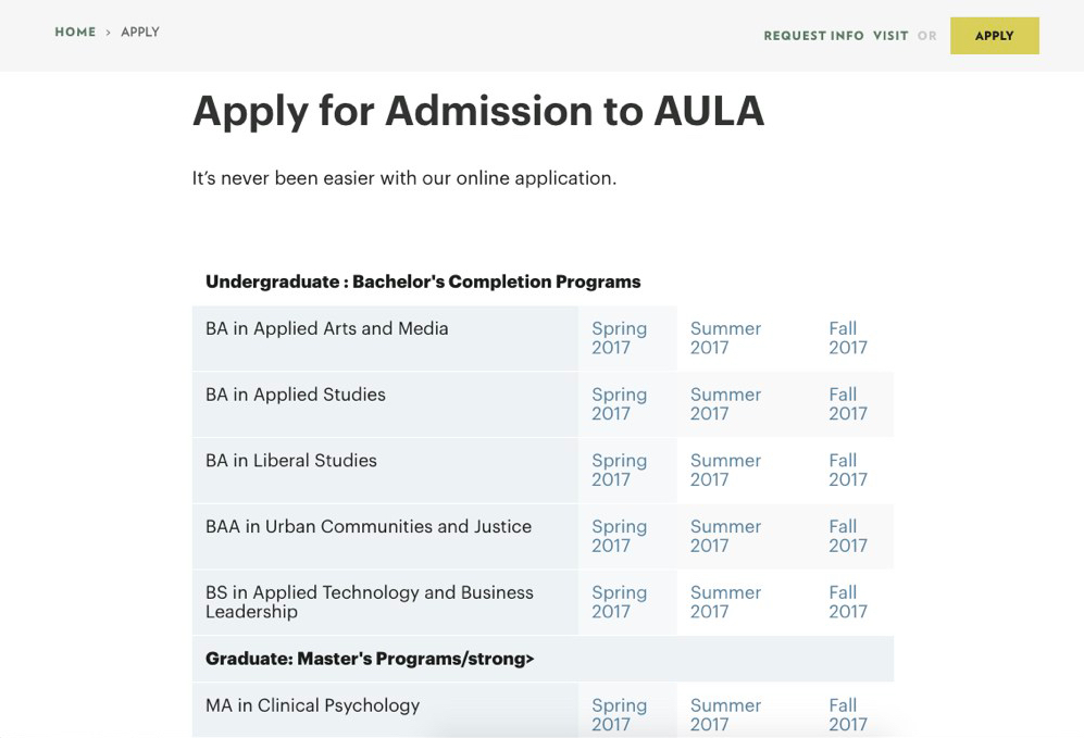 Apply for Admission to AULA; it's never been easier with our online application.
