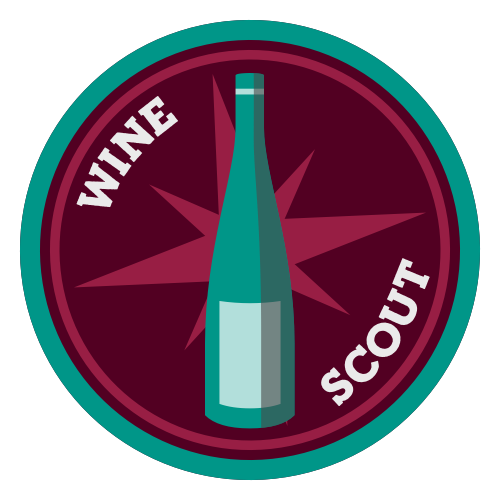 Wine Scout logo - wine bottle and compass
